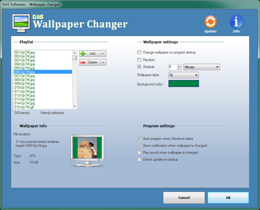 Wallpaper Changer Settings
